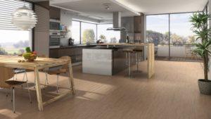 Korek v kuchyni jako podlaha