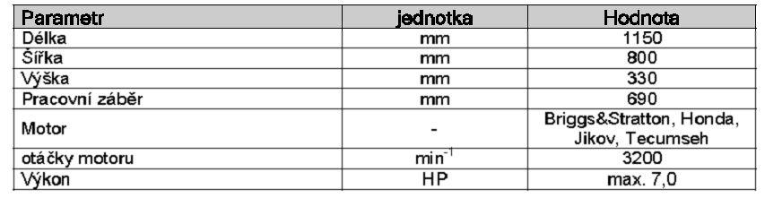 dakr žací stroj sekačka RZS 69 technické parametry