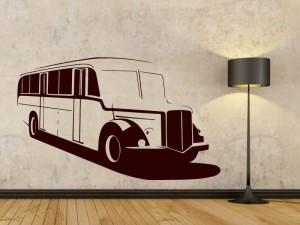 samolepka na zeď autobus černý