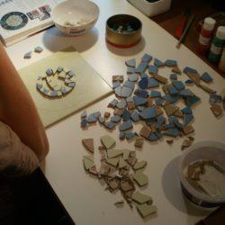 Položení mozaiky nanečisto