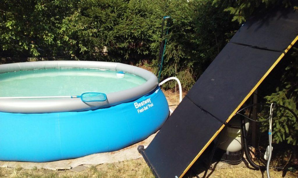 Fotografie zapojení solárního systému při testu ohřevu bazénové vody