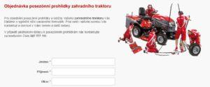 Náhled formuláře na Objednávku posezónní prohlídky zahradního traktoru