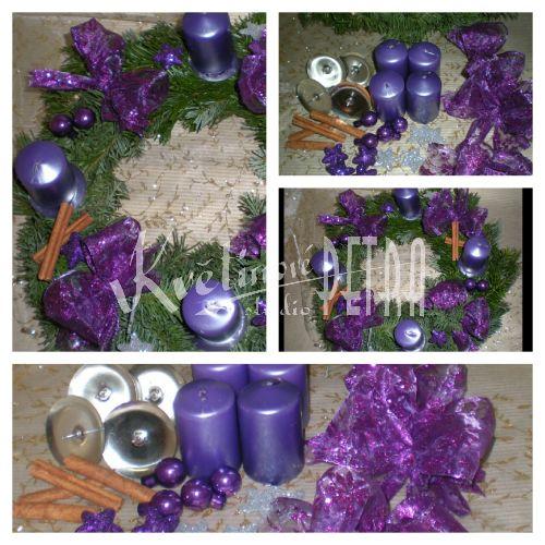 Sada na výrobu adventního věnce-  fialový