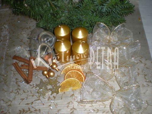 Sada na výrobu adventního věnce - zlatý